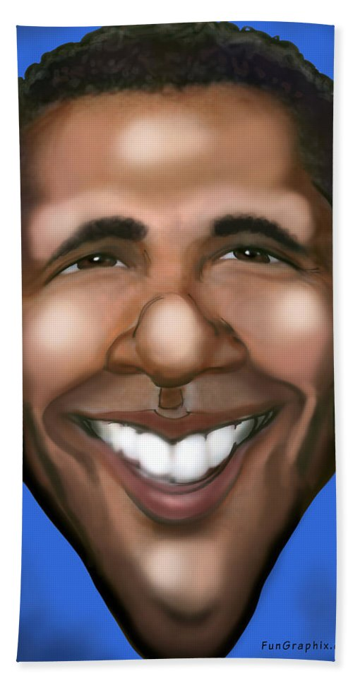 Barack Obama Hand Towel featuring the painting Barack Obama by Kevin Middleton