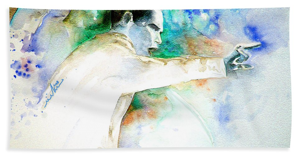 Portrait Barack Obama Bath Sheet featuring the painting Barack Obama Pointing At You by Miki De Goodaboom
