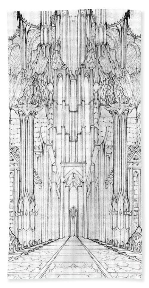 Barad-dur Bath Sheet featuring the drawing Barad-dur Gate Study by Curtiss Shaffer