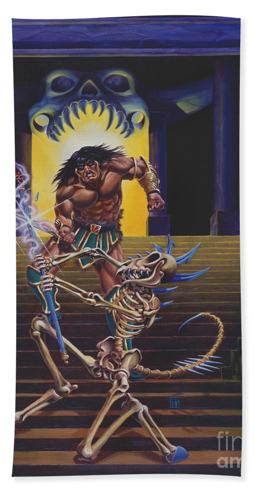 Fantasy Hand Towel featuring the painting Barbarian And Skeleton Wizard by Melissa A Benson