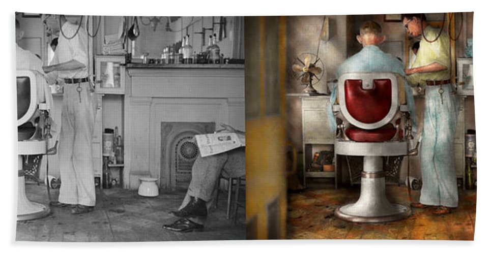 Rockwell Like Hand Towel featuring the photograph Barber - Our Family Barber 1935 - Side By Side by Mike Savad