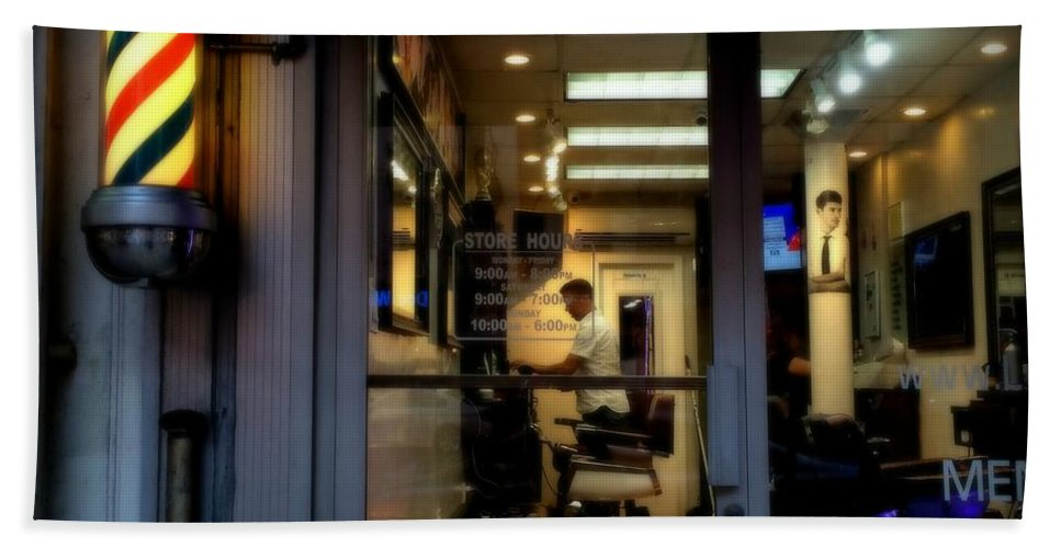 Barber Shop Hand Towel featuring the photograph Barber Shop At Closing Time by Miriam Danar