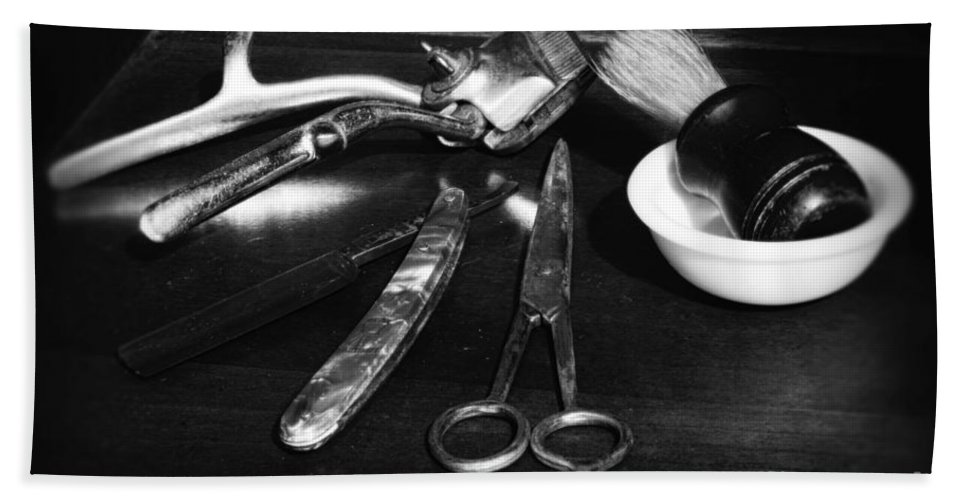 Barber - Things In A Barber Shop Hand Towel featuring the photograph Barber - Things In A Barber Shop - Black And White by Paul Ward