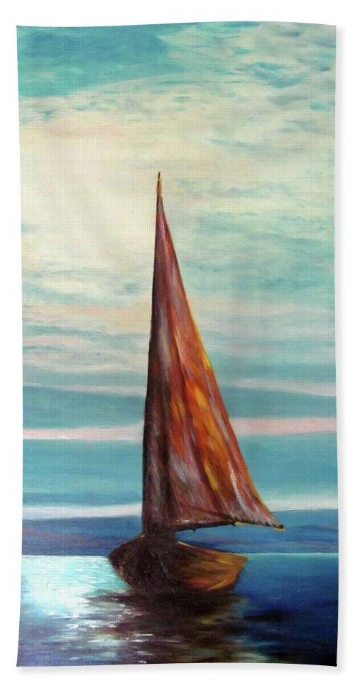 Piero C - Barca Al Chiar Di Luna - Fine Art Paintings Hand Towel featuring the painting Barca Al Chiar Di Luna by Piero C