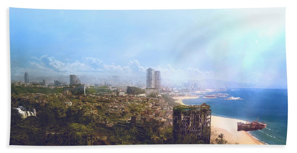 Sciencie Fiction Hand Towel featuring the painting Barcelona Aftermath La Barceloneta by Guillem H Pongiluppi