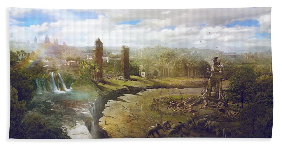Sciencie Fiction Hand Towel featuring the painting Barcelona Aftermath La Placa Espanya by Guillem H Pongiluppi
