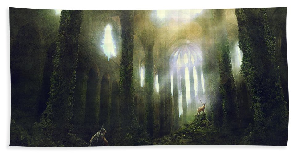 Sciencie Fiction Hand Towel featuring the painting Barcelona Aftermath Santa Maria Del Mar by Guillem H Pongiluppi