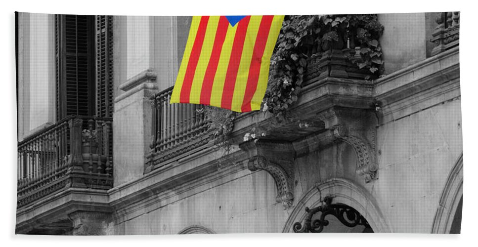 Symbol Bath Sheet featuring the photograph Barcelona - Estelada by Andrea Mazzocchetti
