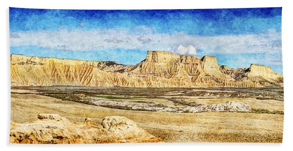 Desert Hand Towel featuring the photograph Bardenas Desert Panorama 3 - Vintage Version by Weston Westmoreland