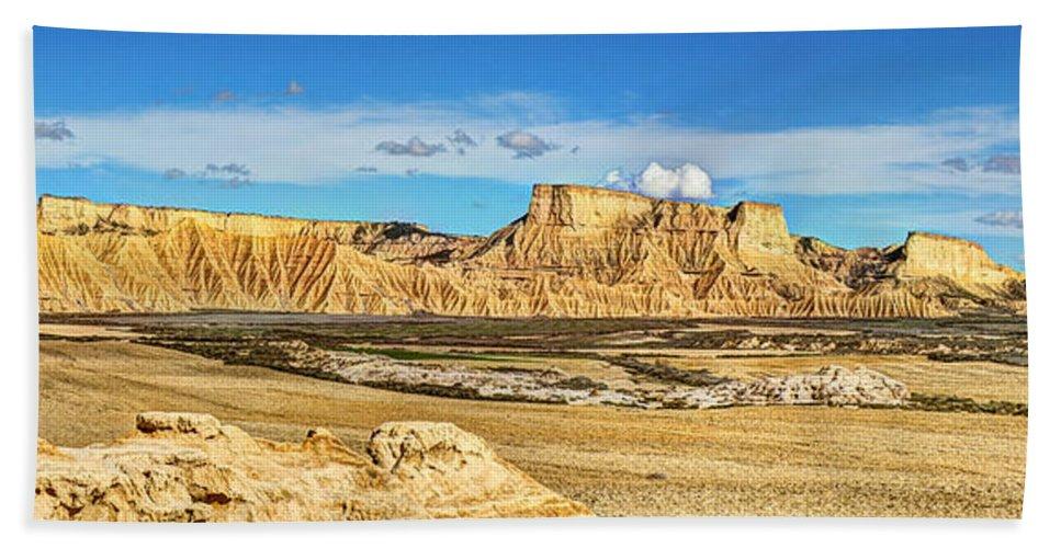 Desert Hand Towel featuring the photograph Bardenas Desert Panorama 3 by Weston Westmoreland