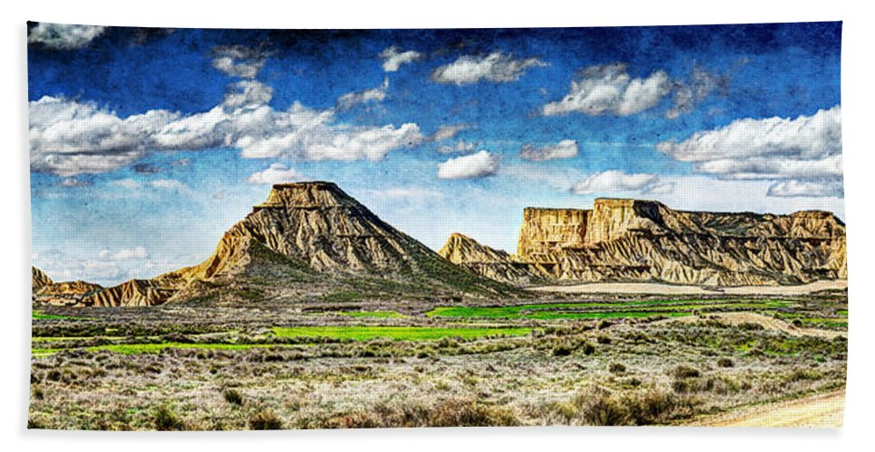 Desert Hand Towel featuring the photograph Bardenas Desert Panorama 4 - Vintage Version by Weston Westmoreland