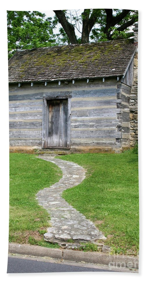 Bardstown Bath Sheet featuring the photograph Bardstown Log School House by Brooke Roby