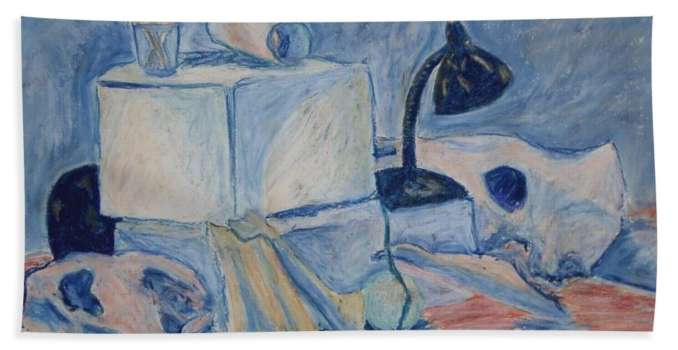 Still Life Hand Towel featuring the pastel Bare Bones by Jean Haynes