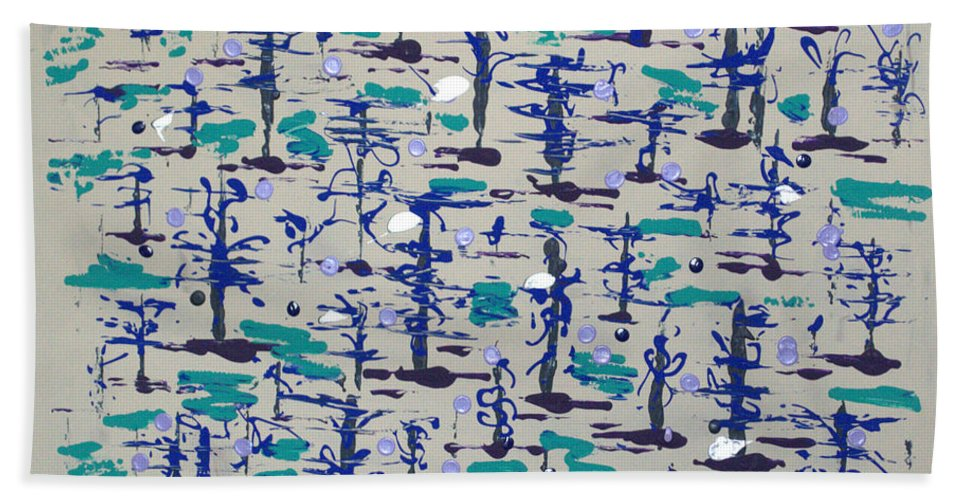 Abstract Hand Towel featuring the painting Bare Trees by J R Seymour