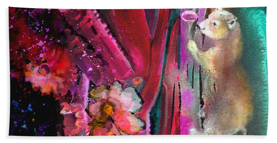 Dream Bath Sheet featuring the painting Bare With Me by Miki De Goodaboom