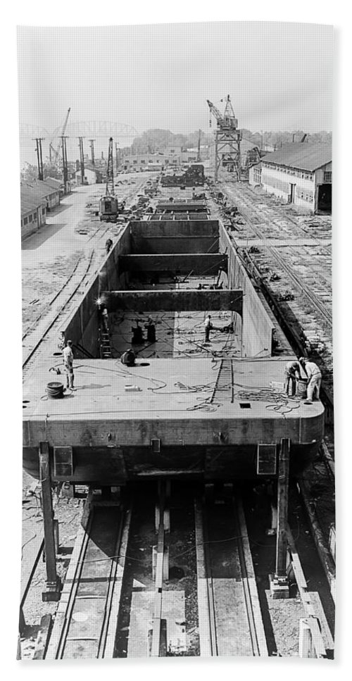 Texas Hand Towel featuring the photograph Barge Construction by Erich Grant