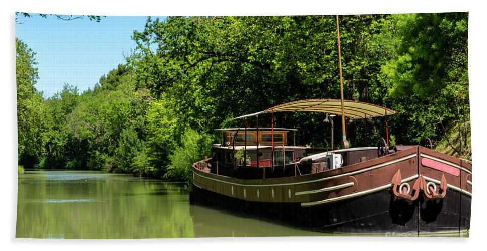 Canal Hand Towel featuring the photograph Barge by Louis-Martin Carriere