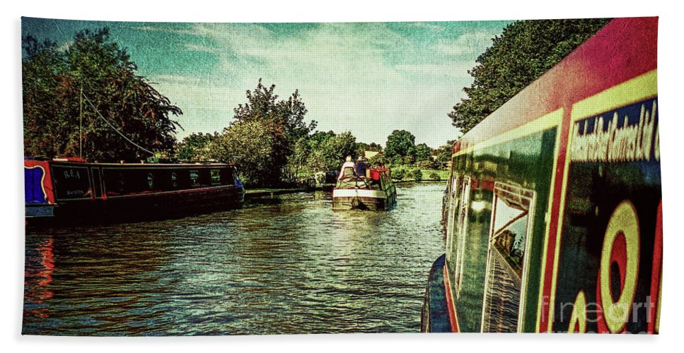 Barging Bath Sheet featuring the photograph 10946 Cruising On The Grand Union Canal by Colin Hunt