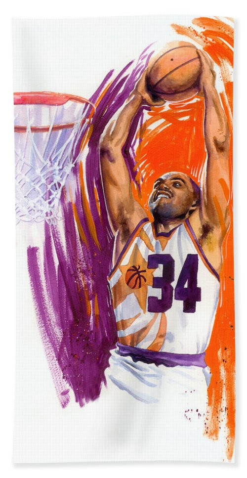 Charles Barkley Bath Towel featuring the painting Barkley by Ken Meyer jr