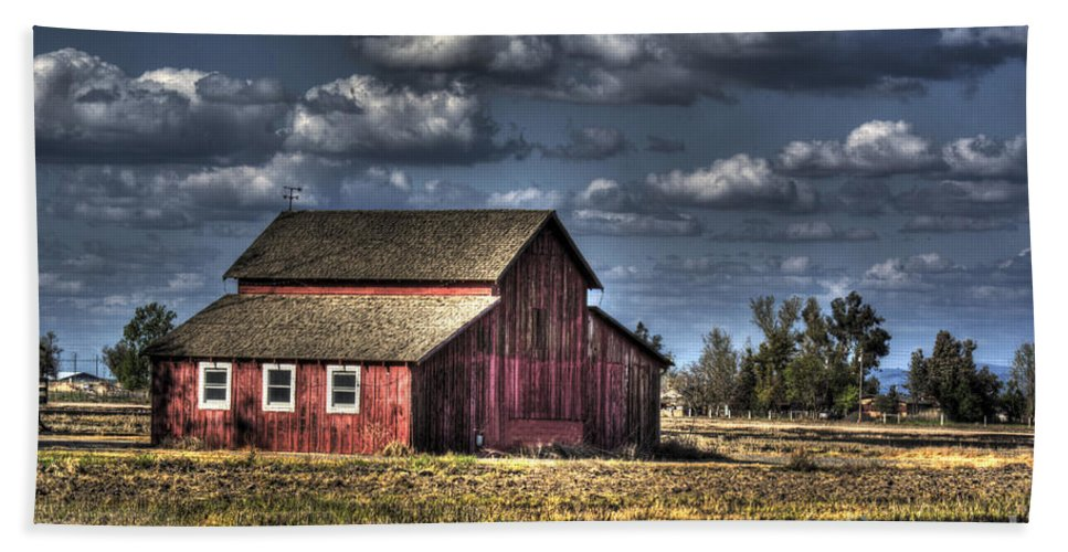 Barn Bath Sheet featuring the photograph Barn After Storm by Jim And Emily Bush