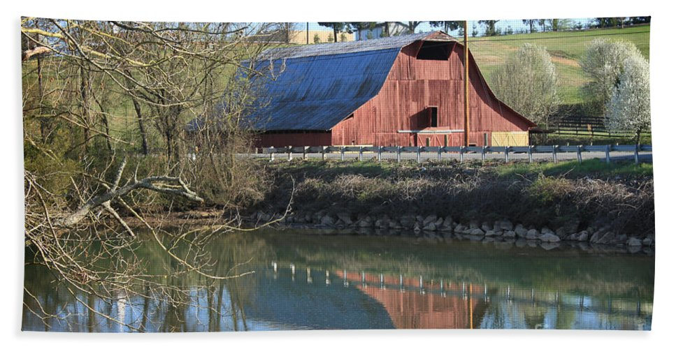 Landscape Bath Sheet featuring the photograph Barn And Reflections by Todd Blanchard