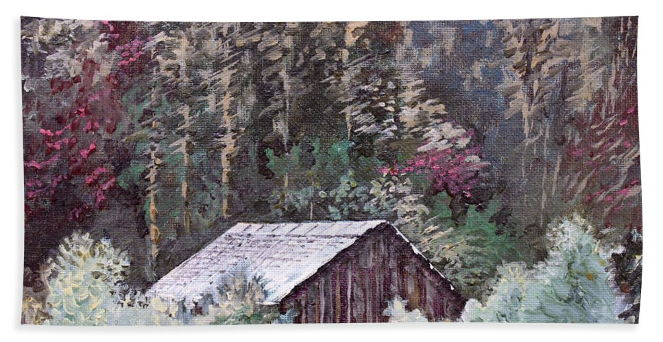 Landscape Bath Sheet featuring the painting Barn At Cades Cove by Todd Blanchard