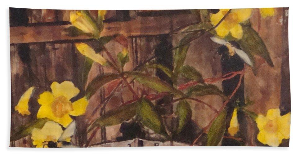 Flower Hand Towel featuring the painting Barn Door Hinge by Jean Blackmer