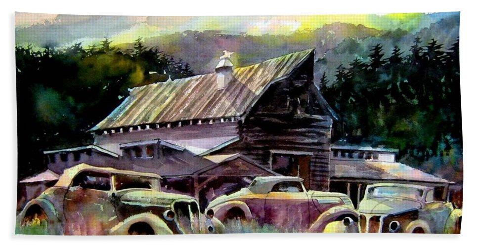 Barn Fresh Cabriolets 37 Fords...barn Bath Towel featuring the painting Barn Fresh Cabriolets by Ron Morrison