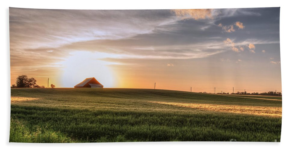 2015 Bath Towel featuring the photograph Barn In A Wheat Field by Larry Braun