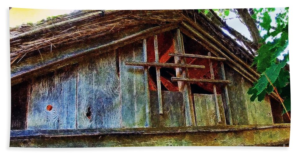 Barn Hand Towel featuring the painting Barn In Summer Colors by RC DeWinter