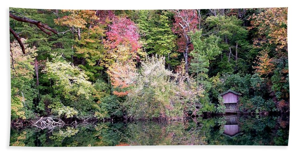 Nature Hand Towel featuring the photograph Barn In The Mirror by Robert Meanor