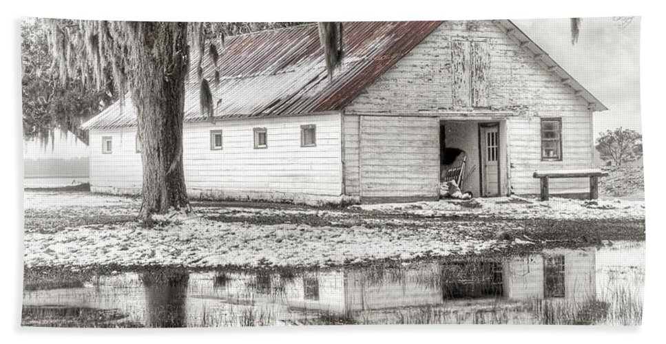 Landscape Hand Towel featuring the photograph Barn Reflection by Scott Hansen