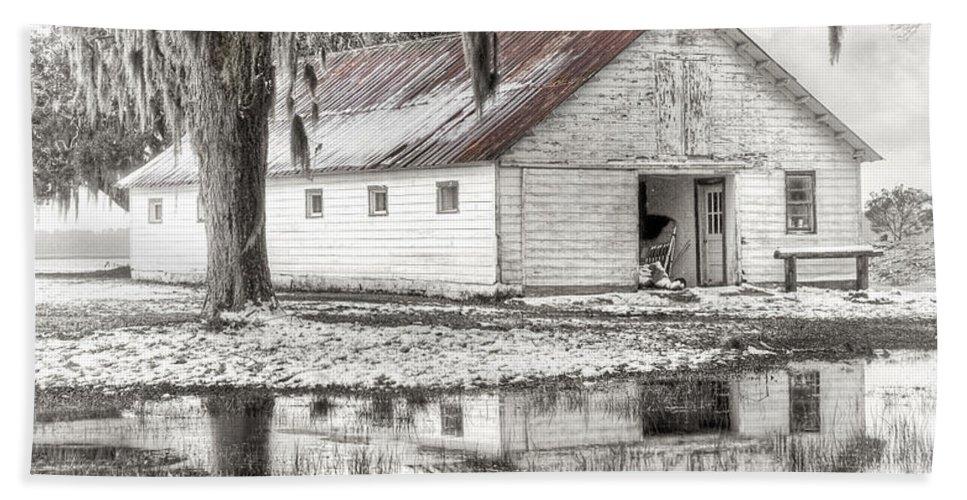 Landscape Bath Sheet featuring the photograph Barn Reflection by Scott Hansen