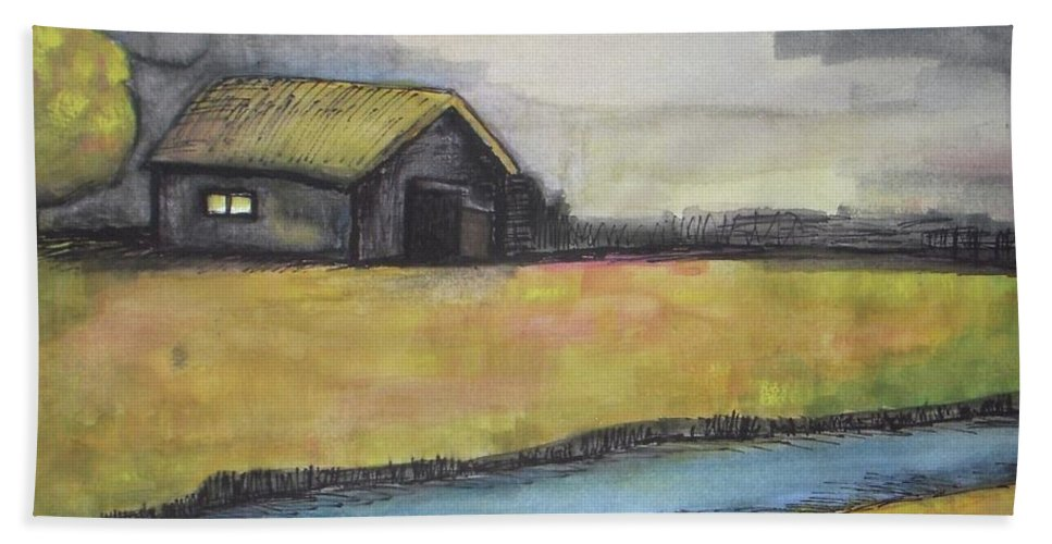 Barn Painting Bath Sheet featuring the painting Barn by Vesna Antic