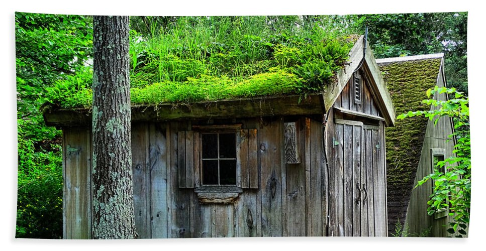 Barn Hand Towel featuring the photograph Barn With Green Roof by Lilia D