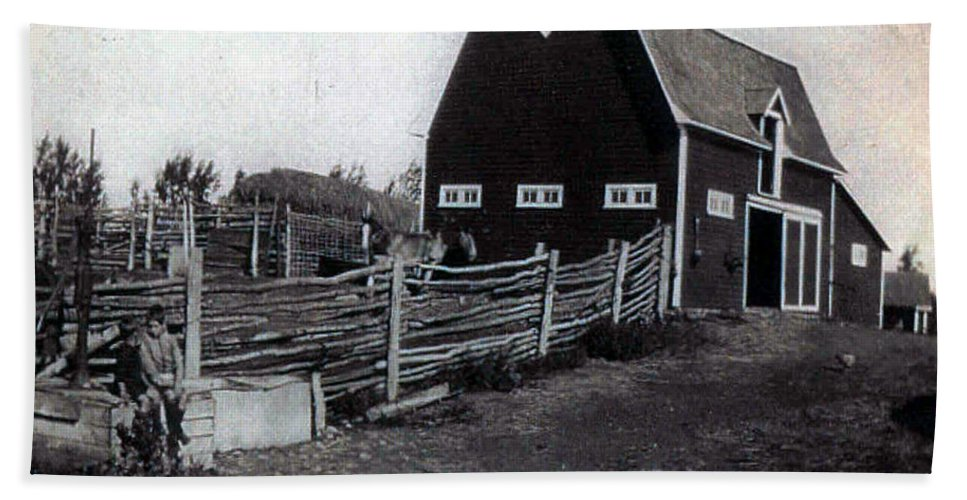 Barn Farm Classic Horse Chicken Children 1900s Corral Grass Pasture Ranch Black And White Hand Towel featuring the photograph Barnyard Calm by Andrea Lawrence