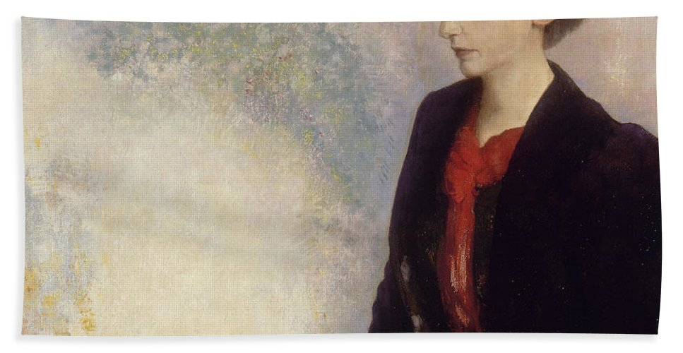 Odilon Redon Bath Sheet featuring the painting Baroness Robert De Domecy by Odilon Redon