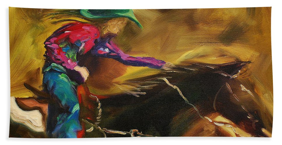 Western Art Hand Towel featuring the painting Barrel Racer by Diane Whitehead