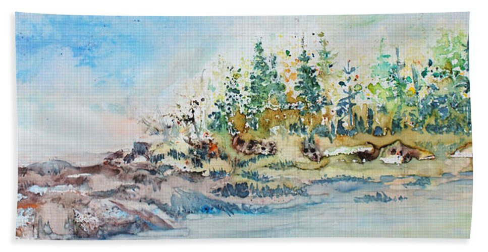 Landscape Hand Towel featuring the painting Barrier Bay by Jo Smoley