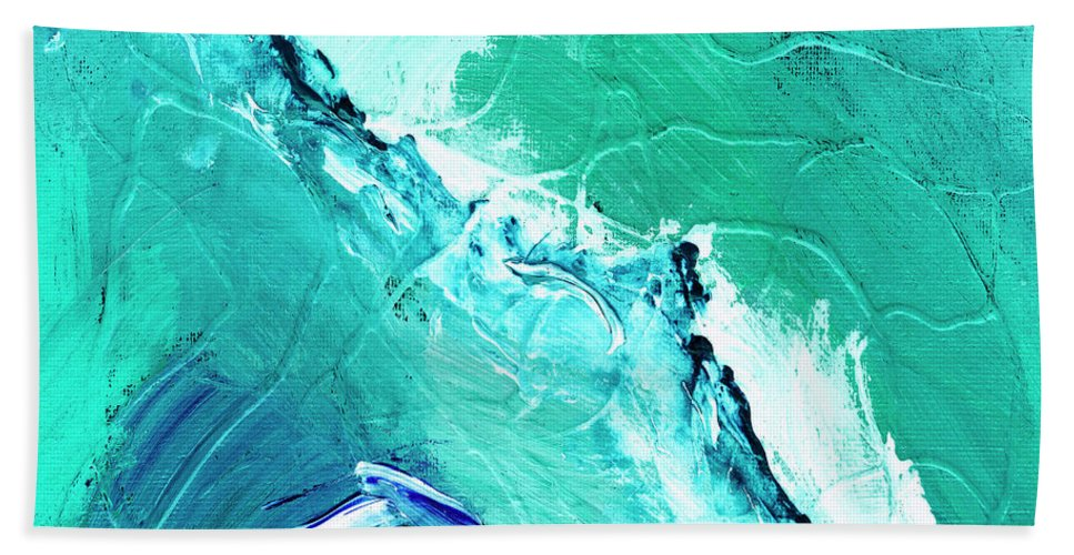 Abstract Hand Towel featuring the painting Barrier Reef by Dominic Piperata