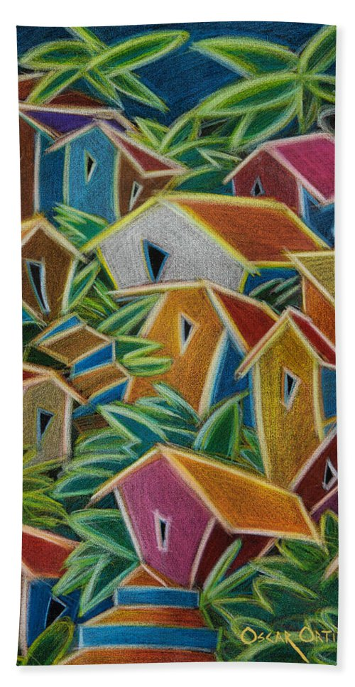 Landscape Bath Towel featuring the painting Barrio Lindo by Oscar Ortiz