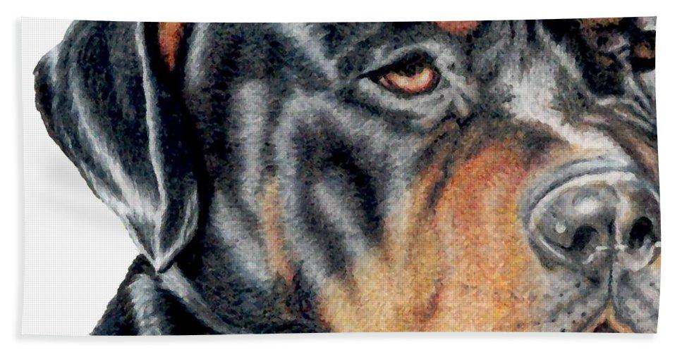 Rottweiler Hand Towel featuring the drawing Bart Detail by Kristen Wesch