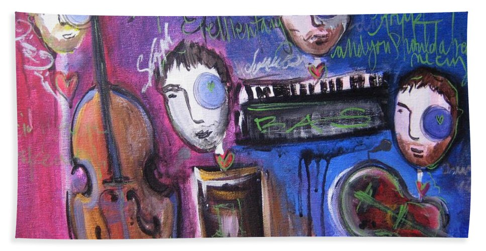 Boulder Acoustic Society Bath Sheet featuring the painting Bas At Meridian Elementary School by Laurie Maves ART