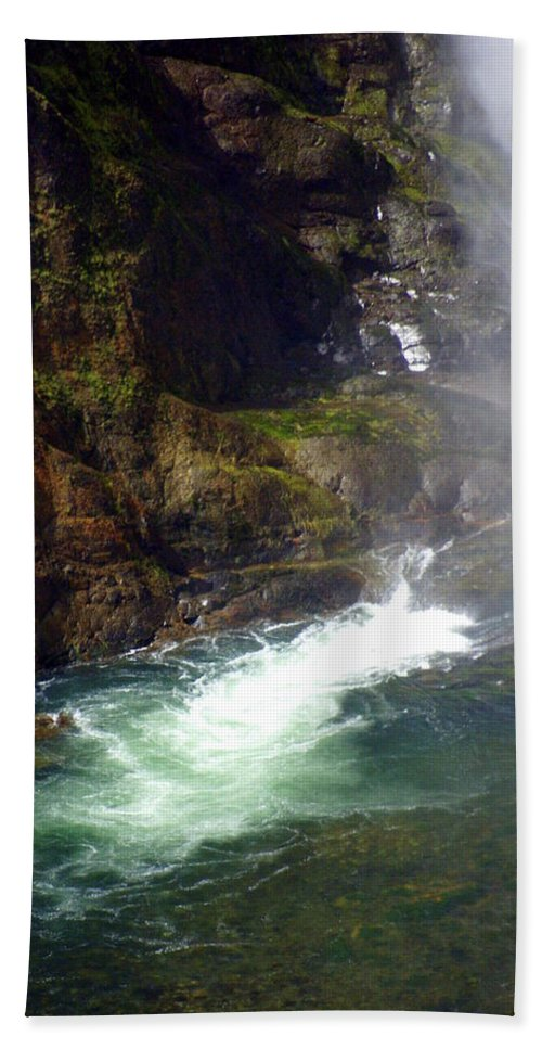 Yellowstone National Park Bath Sheet featuring the photograph Base Of The Falls 1 by Marty Koch