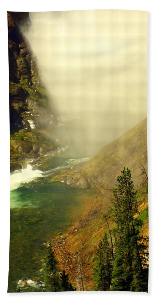 Yellowstone River Hand Towel featuring the photograph Base Of The Falls 2 by Marty Koch