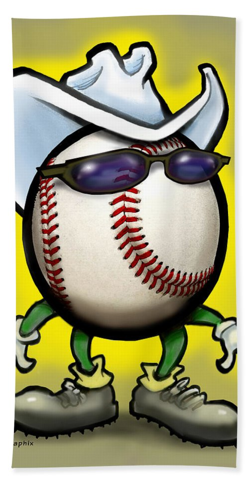 Baseball Hand Towel featuring the greeting card Baseball Cowboy by Kevin Middleton
