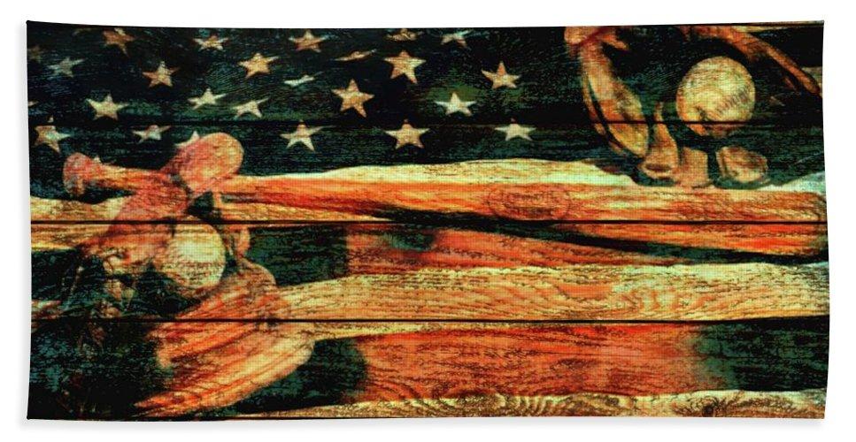 Baseball An American Tradition Bath Sheet featuring the mixed media Baseball Grunge Barn Door by Dan Sproul