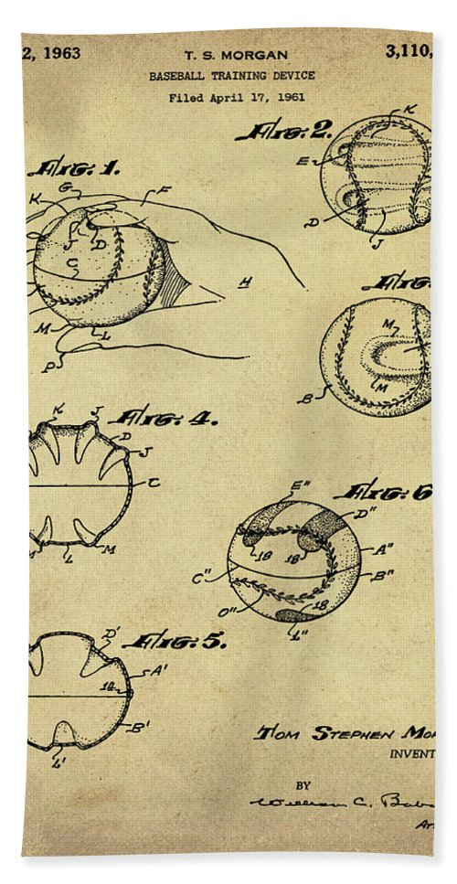 Baseball Bath Sheet featuring the photograph Baseball Training Device Patent 1961 Sepia by Bill Cannon