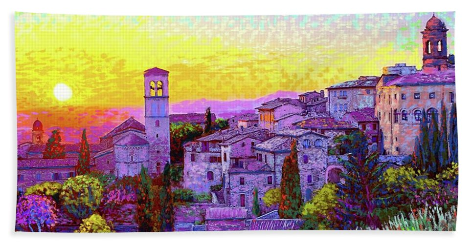 Italy Bath Towel featuring the painting Basilica Of St. Francis Of Assisi by Jane Small