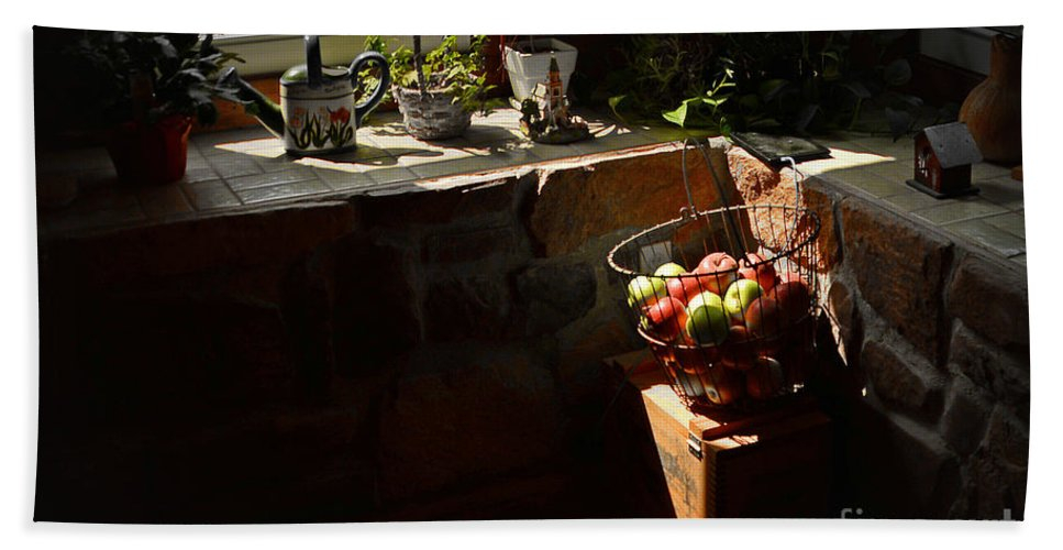 Flowers Hand Towel featuring the photograph Basket Of Apples by Aaron Shortt